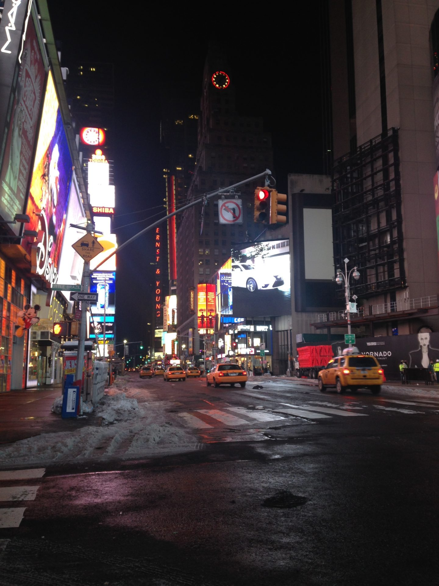 Snow Hits Times Square