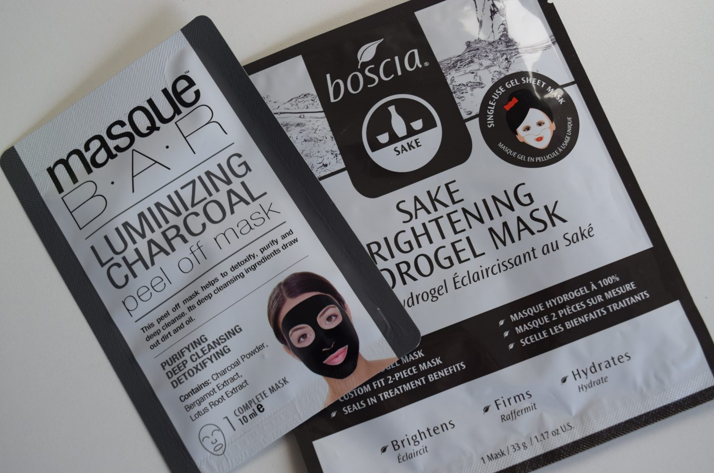 Charcoal Mask and Boscia Hydrogel Brightening Mask