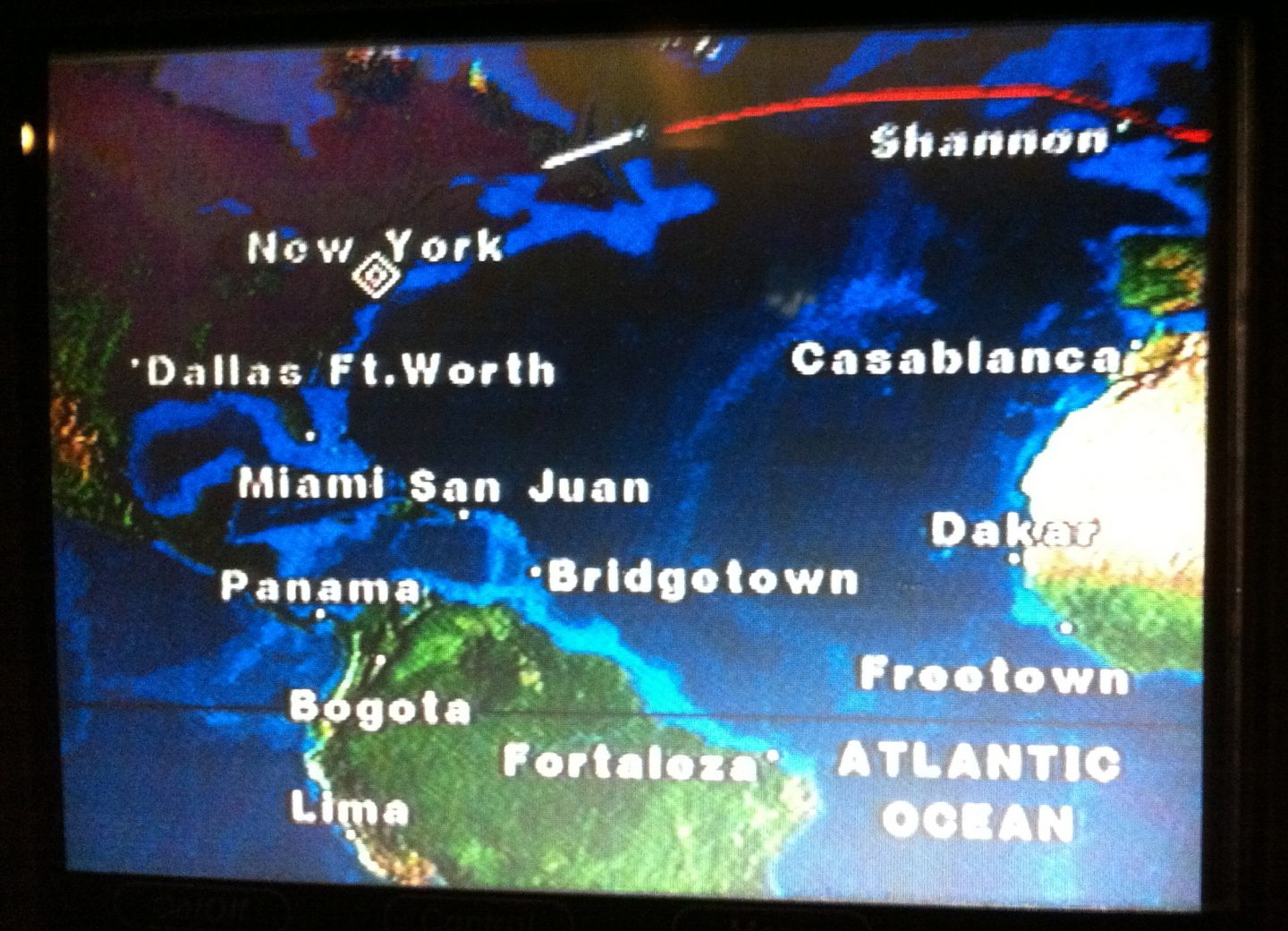 London to New York Flight Path