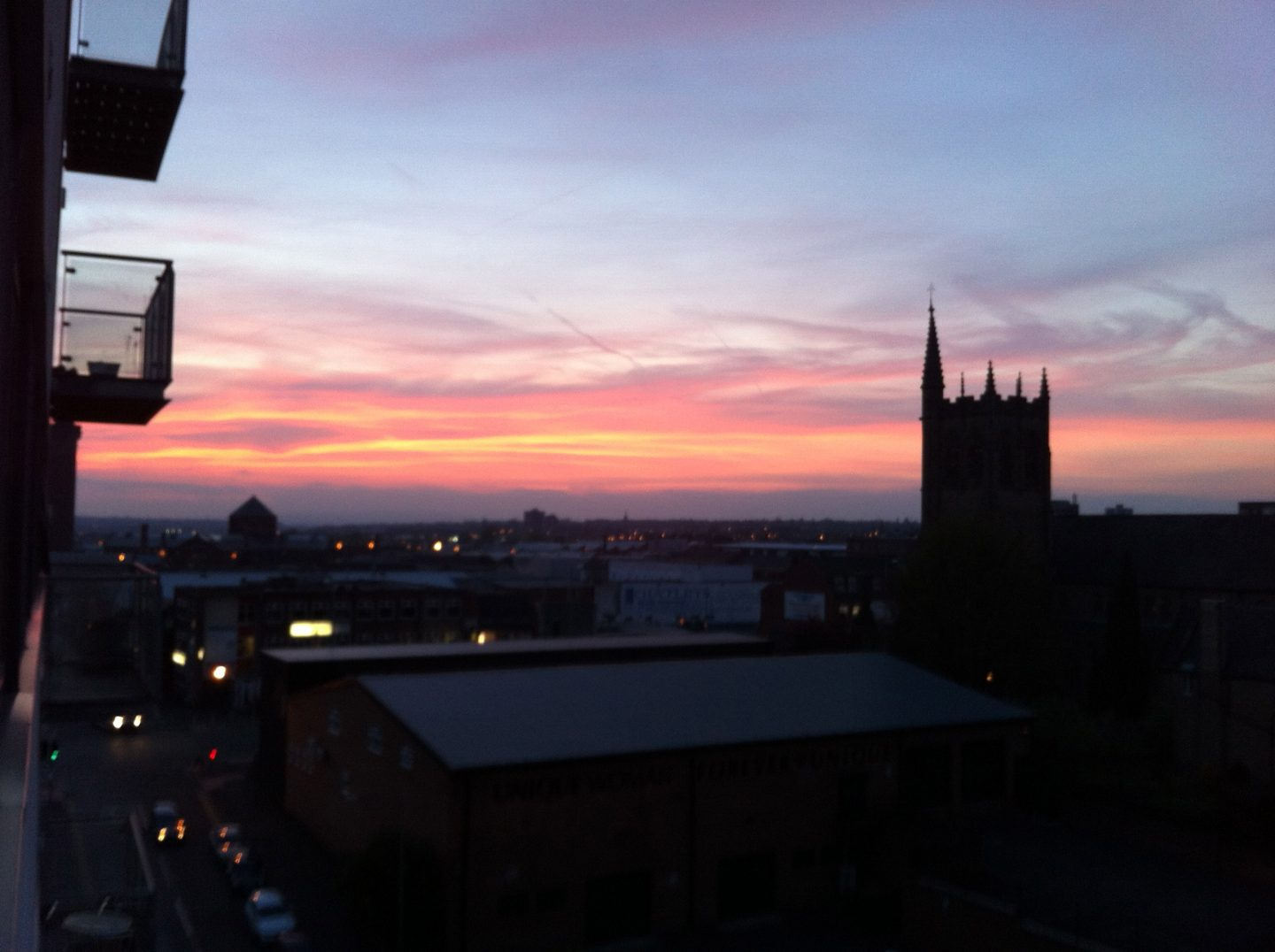Sunset over Manchester from my balcony